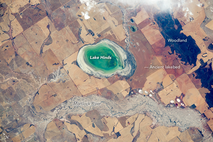 Lake Hinds from International Space Station
